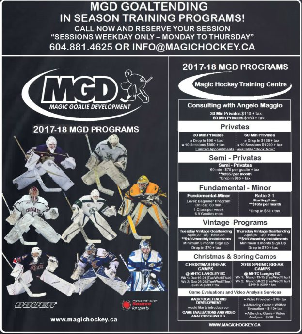 2017-18 MGD - MHTC Goalie Programs